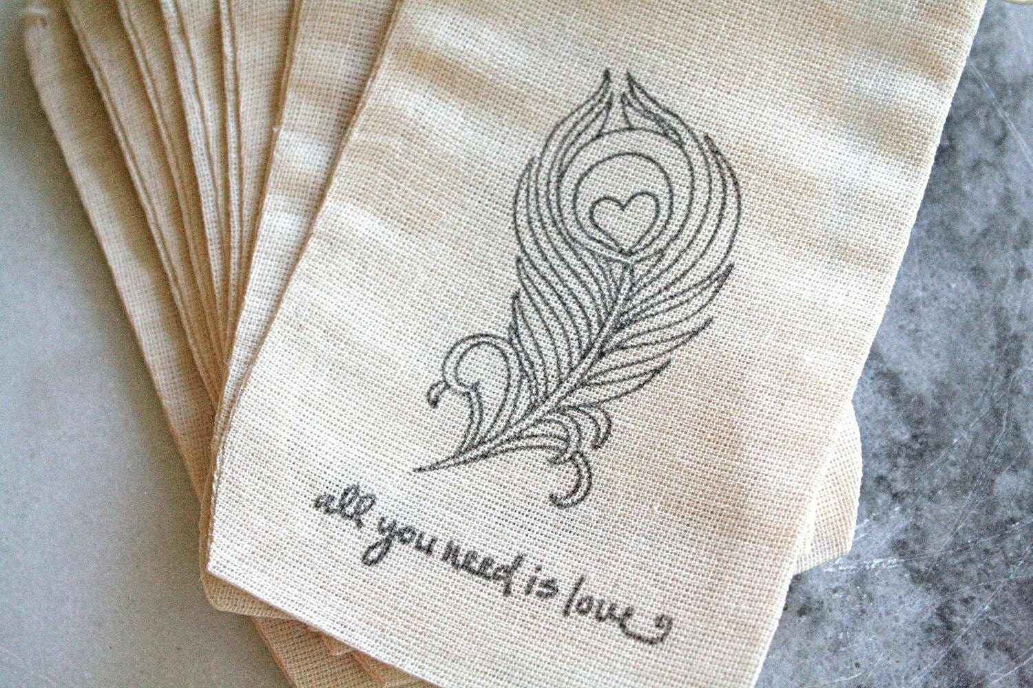 Wedding favor bags, muslin, 3x5. Set of 100.  Peacock feather, All You Need Is Love, black on natural muslin.