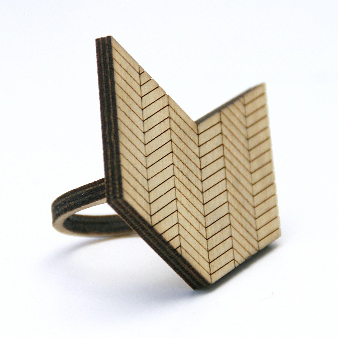 Chevron Wood Ring: Arrow or Chevron Geometric Design Made to Order in Any Size - DiamondsAreEvil