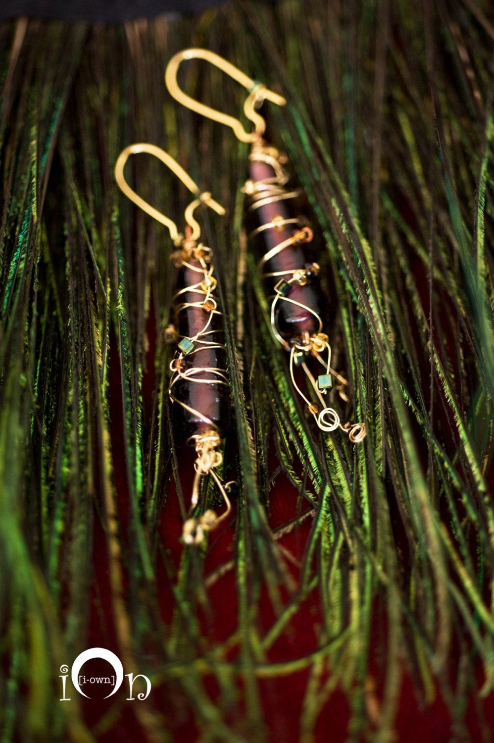 Plum & Gold Beaded Glass Earrings, The Golden Embrace