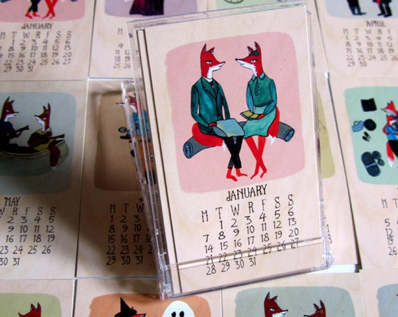 2013 Foxes in Love Mini Desk Calendar