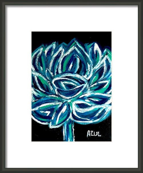 Azul- Blue, Lotus, flower, tropical, Art print, Abstract, Nature, floral, flora, botanical, impressionist, expressionism