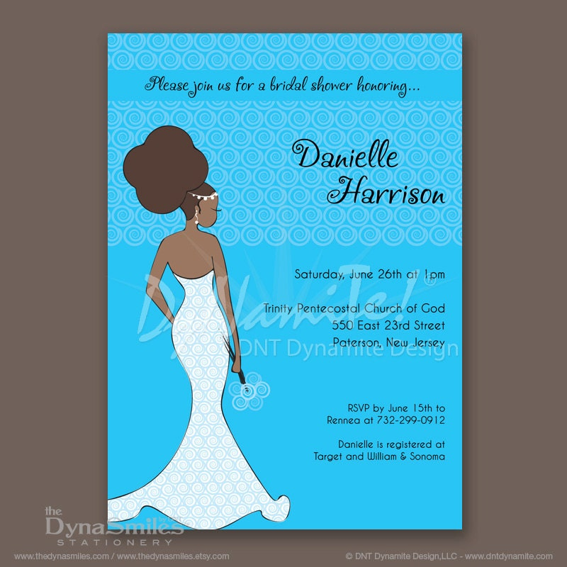 DNT Diva Bride - Bridal Shower Invitation - African American