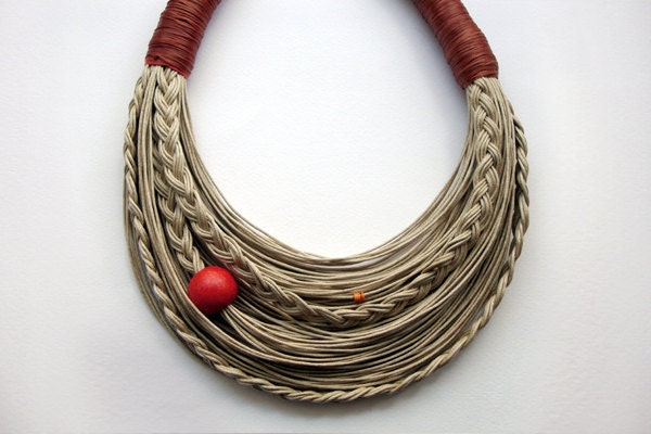 Cinnamon and Natural  Statement  fiber necklace Spring - Summer Collection - superlittlecute