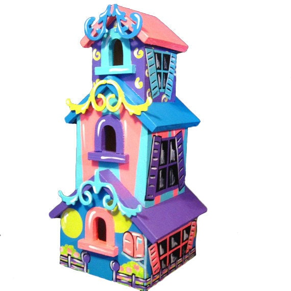 Large Hand Painted Cartoon Style Birdhouse