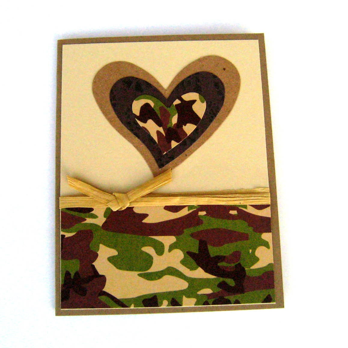 Handmade Masculine Valentine Card or Love Card Green and Brown Camoflauge Heart