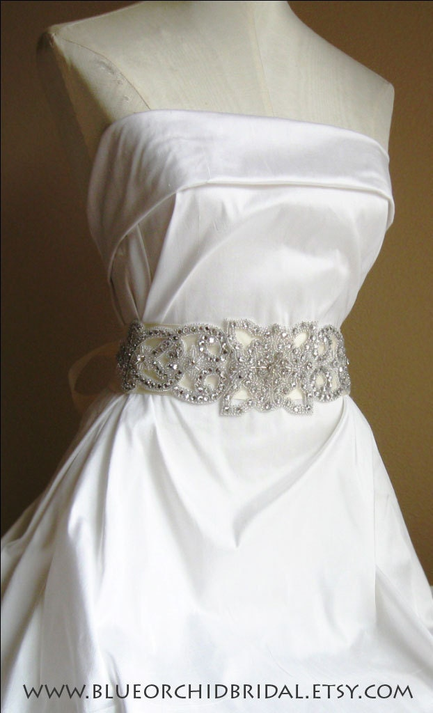Crystal Bridal Sash Belt Vintage Art Deco Inspired Wedding