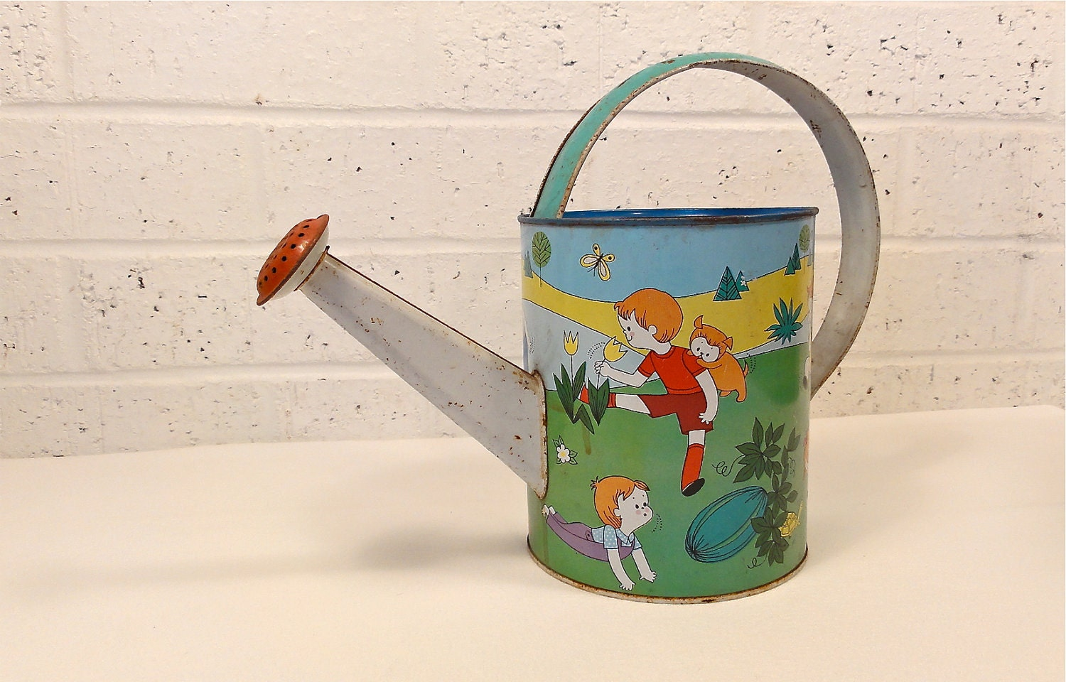 Vintage Child's Watering Can - Bluebell