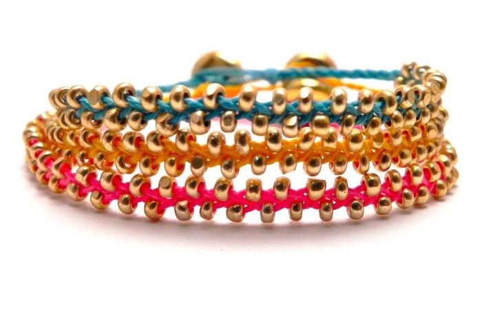 Braided Bead Bracelet Set of THREE - Friendship - Infinity
