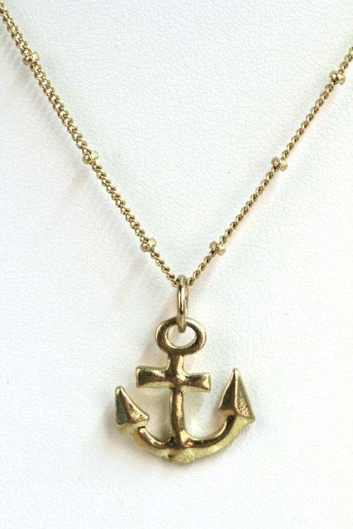 Nautical Anchor Necklace Tiny Gold Nautical Charm Graduation Gift