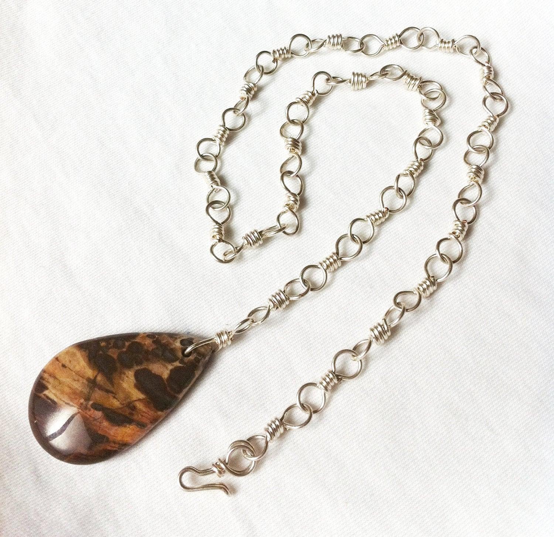 CHOCOLATE DROP- Jasper Pendant Necklace