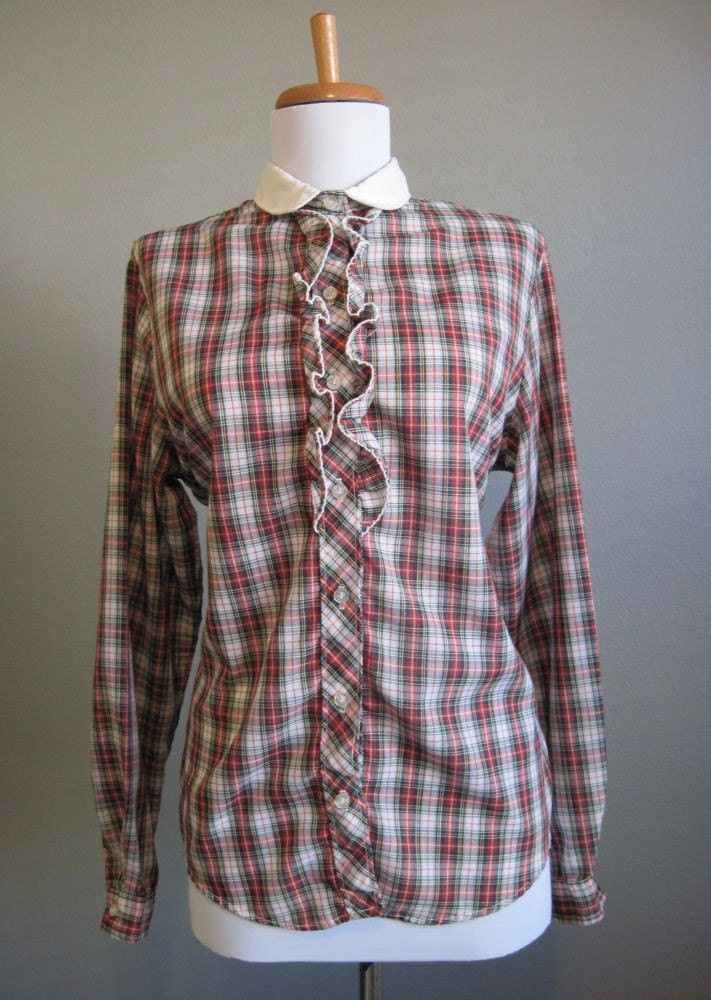 Christmas Plaid Blouse Tartan Vintage Holiday Ruffle 70s Medium