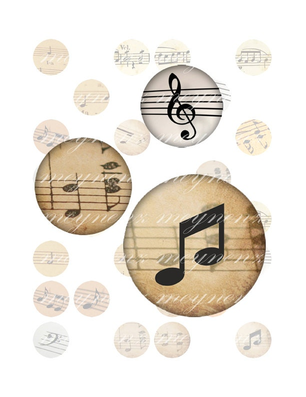 Let's Listen to the Music - Printable 1 inch round for jewelry, magnet - Jpg File no. A022