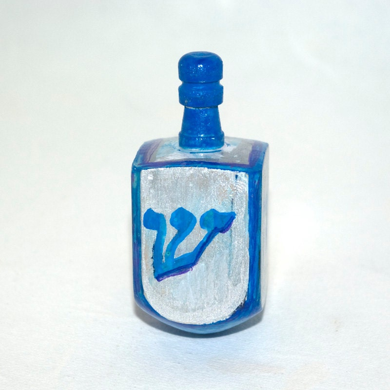 Blue and Silver Dreidel for Hanukkah by Claudine Intner - claudine