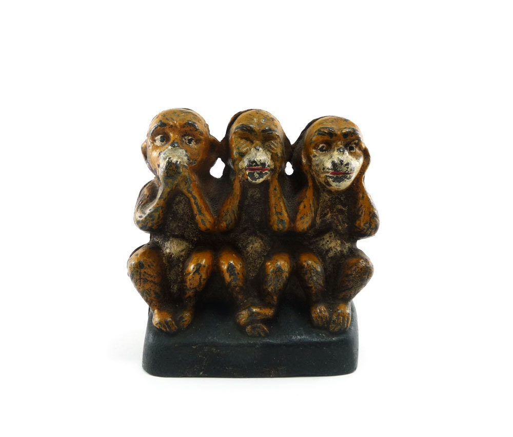 Three monkeys antique cast iron bank - see no evil - reconstitutions