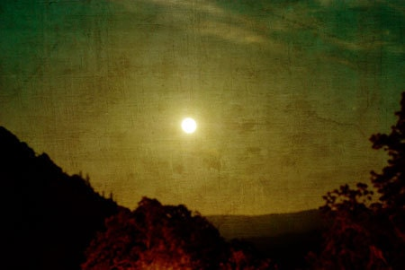 Photograph, moon, columbia gorge hills, Washington, There is no moon like a full moon, 16x24 thin wrap, ready to hang - BleuOiseau