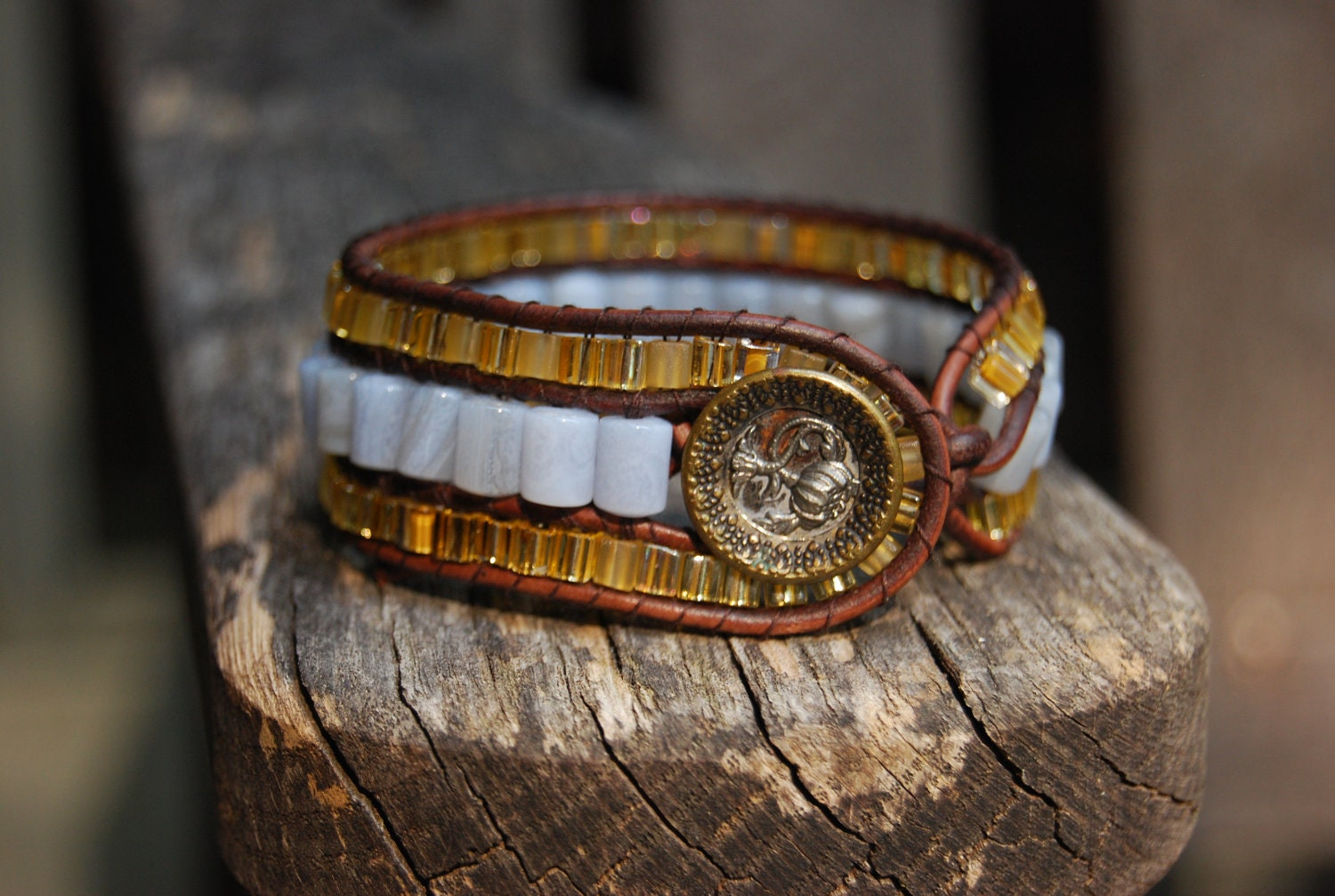 Wrapped Leather Bracelet with Powder Blue Lace Agate & Gold Glass Beads and Vintage Button - Brown Leather Cuff - MixNPatch