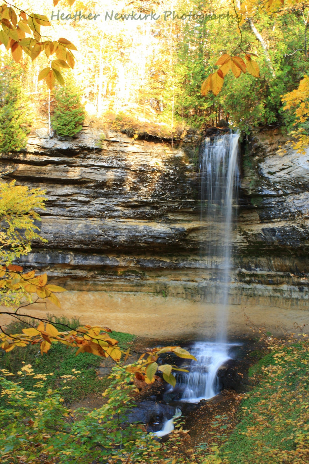 Autumn Fall Colors at Waterfall-Pictured Rocks Munising Falls in Michigan's Upper Peninsula--Fine Art Photograph-5x7 - HeatherNewkirkPhotos
