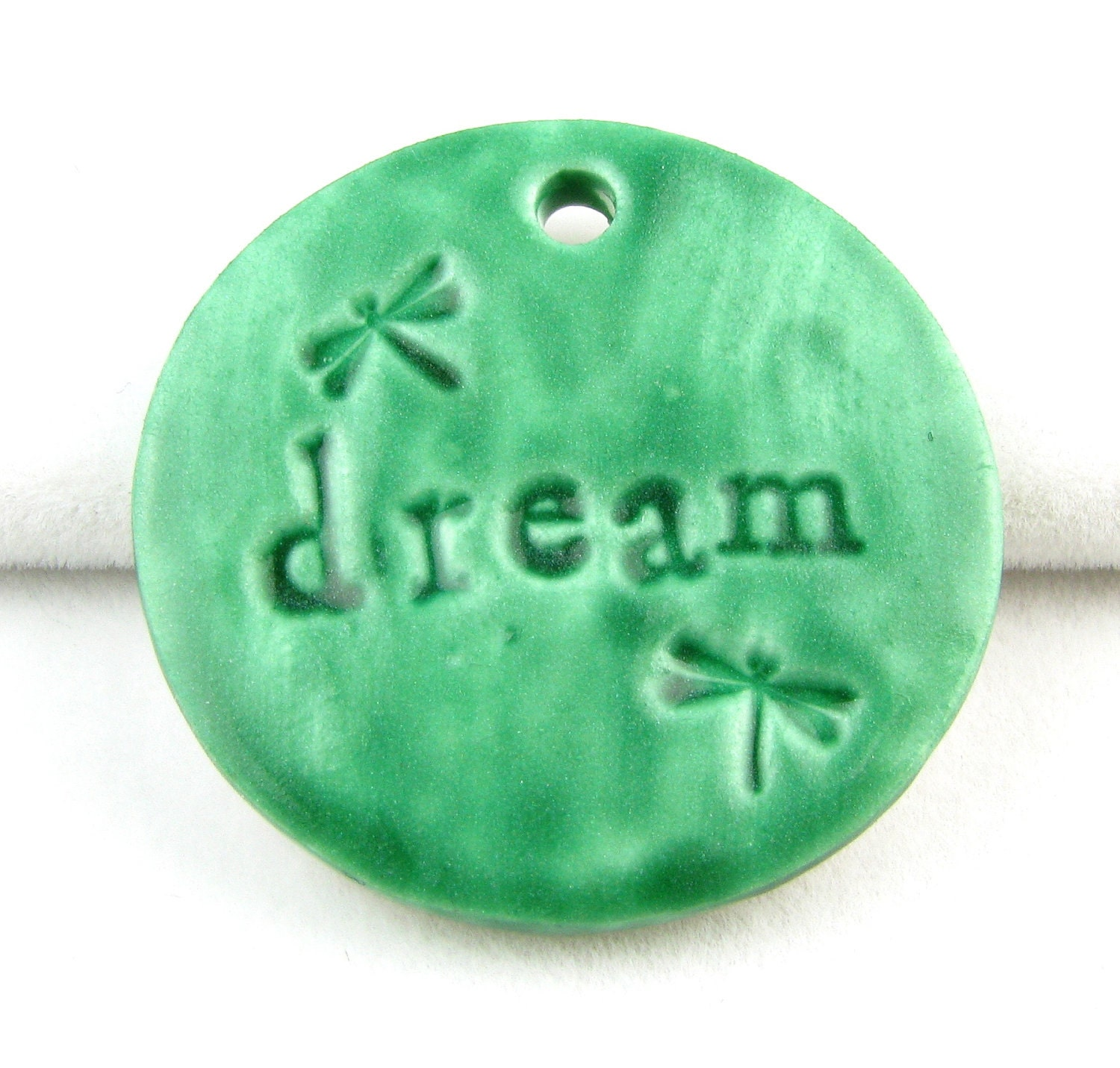 Mint Green Dream Pendant Polymer Clay Faux Ceramic - RockefellerJewelry