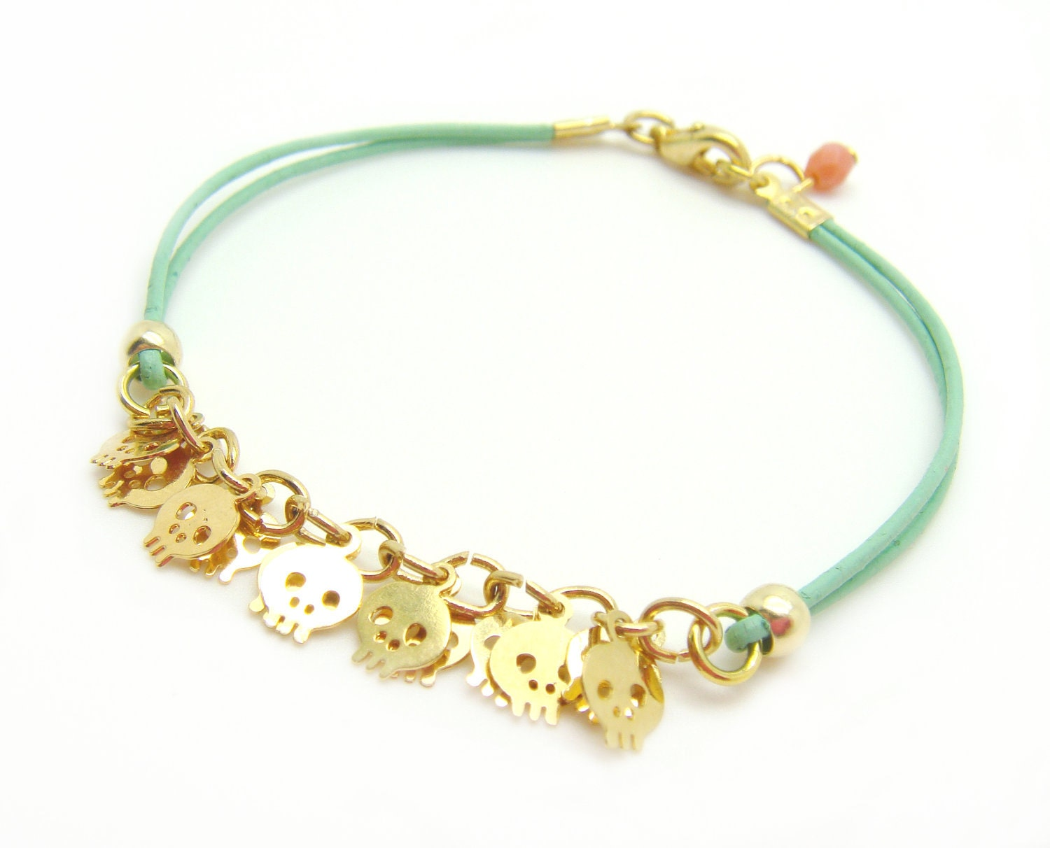 Tiny Skull Bracelet - Pastel Mint Leather W/ Tiny Gold Plated Skulls - Coral faceted pendant - minifabo