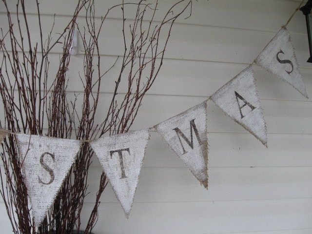 CHRISTMAS Painted Burlap Banner, Rustic style