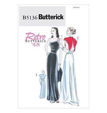 Butterick Retro Dress Pattern B5136 - Misses' Dress and Jacket - RETRO 1948 - Sz 14/16/18/20