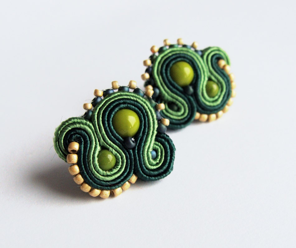 Soutache stud earrings handmade post earrings embroidered green gold forest pearls TOHO oaak gift for her under 50