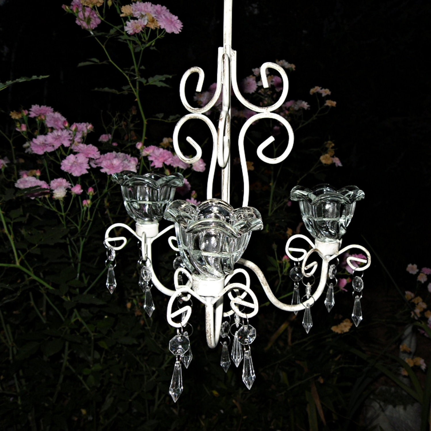 Candle Chandelier Wedding Chandelier Outdoor by Theshabbyshak