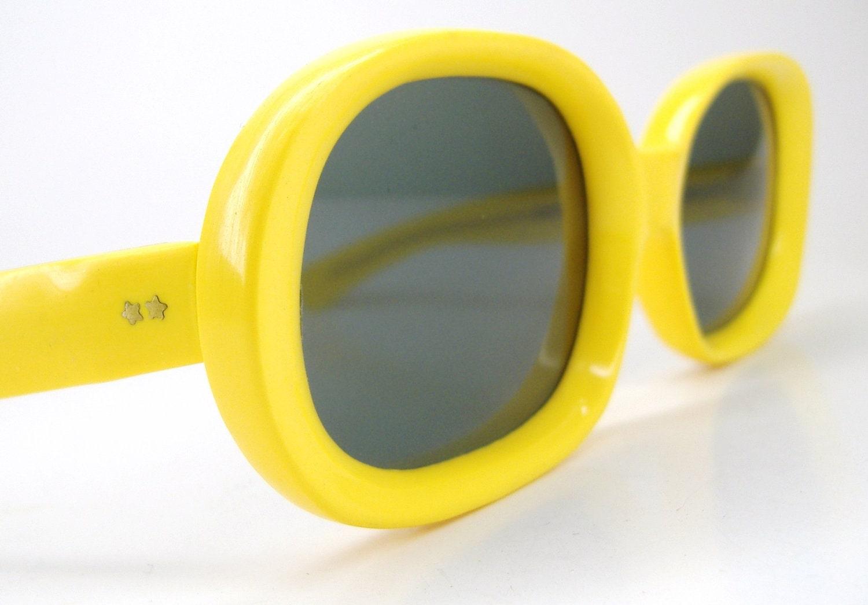 Vintage1970s Yellow Sunglasses Eyewear Frame Italy