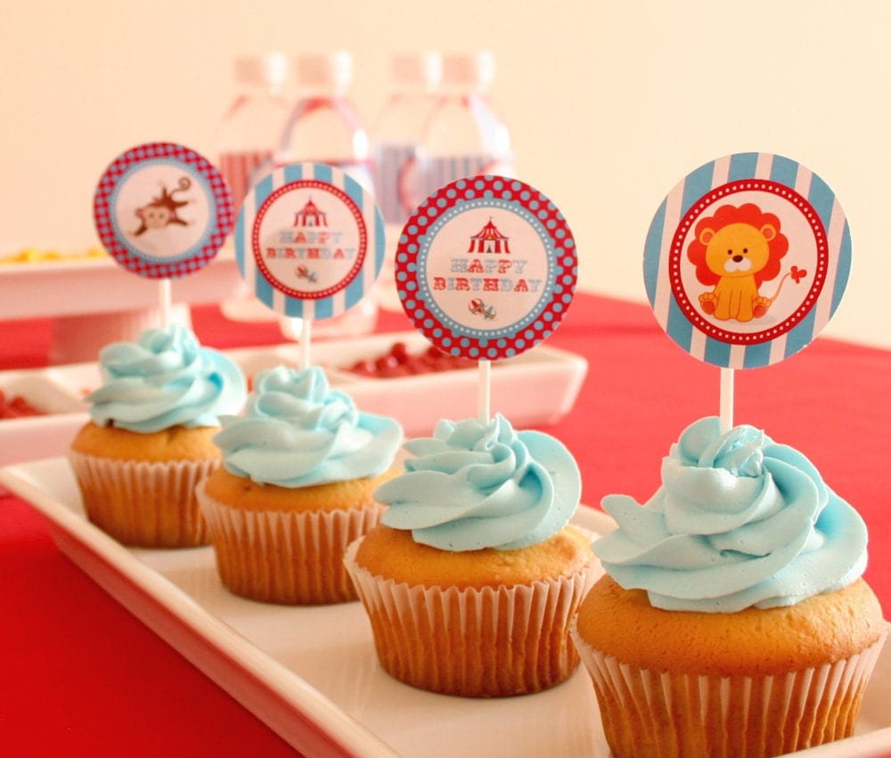 DIY PRINTABLE Birthday Party - Party Circles Cupcake Wrappers - Vintage Blue Carnival Circus  - PS801CA1d