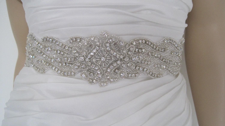 "Wedding dress sash belt rhinestone black white ,gold ivory crystal beaded bridal sash ""BELLA B"