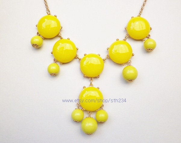 Yellow- 6 stone Bubble Statement Necklace