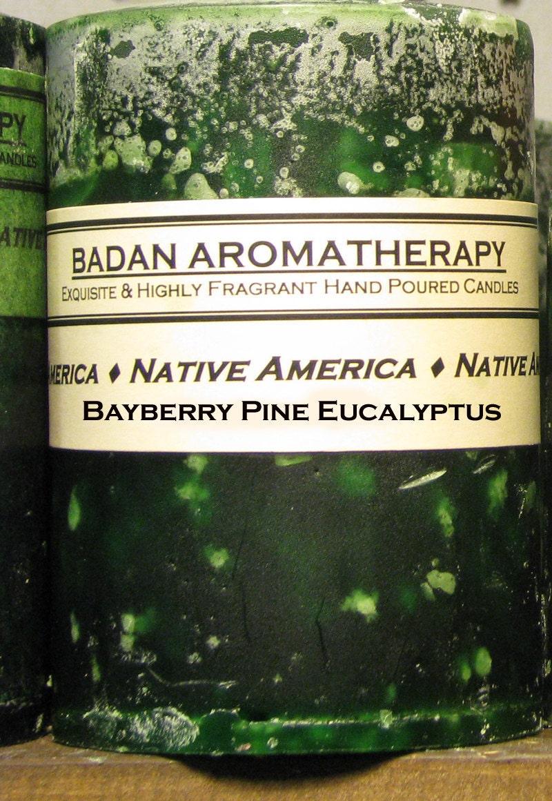 Dark Green Eucalyptus Pine & Bayberry Handmade Round Pillar Candle 3x4.5