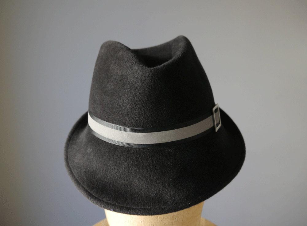 Dark grey fur felt fedora - MillineryMakeBelieve