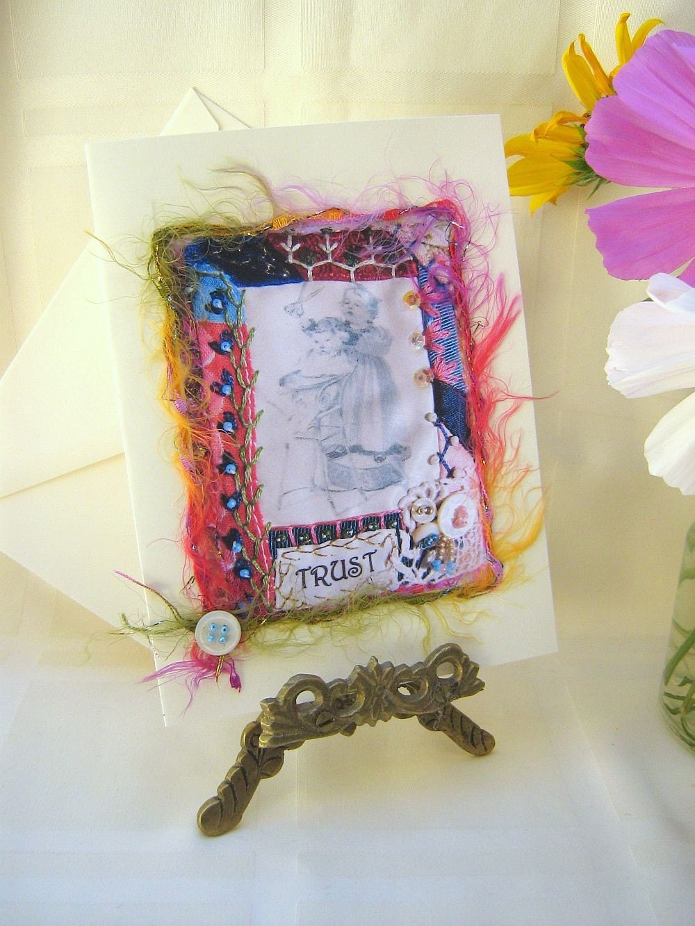 Greeting Card, Art Quilt Print, Mixed Media - Trust