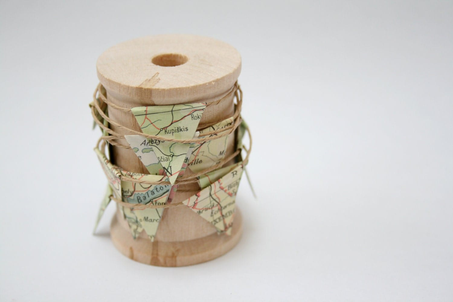 Miniature Map Bunting on a Wooden Spool