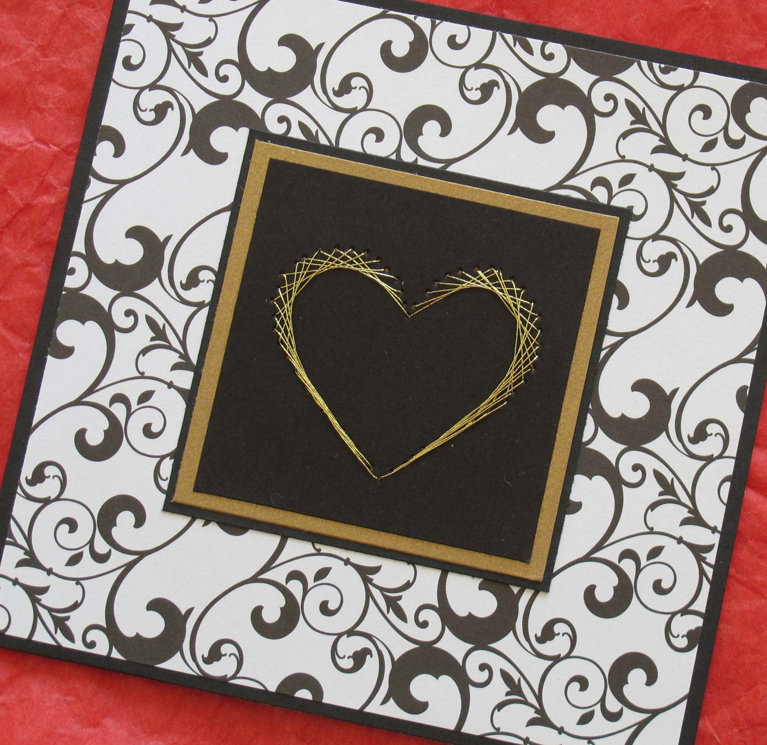 Black and white filigree wedding card with gold embroidered heart Valentines Love - SandrasCardShop