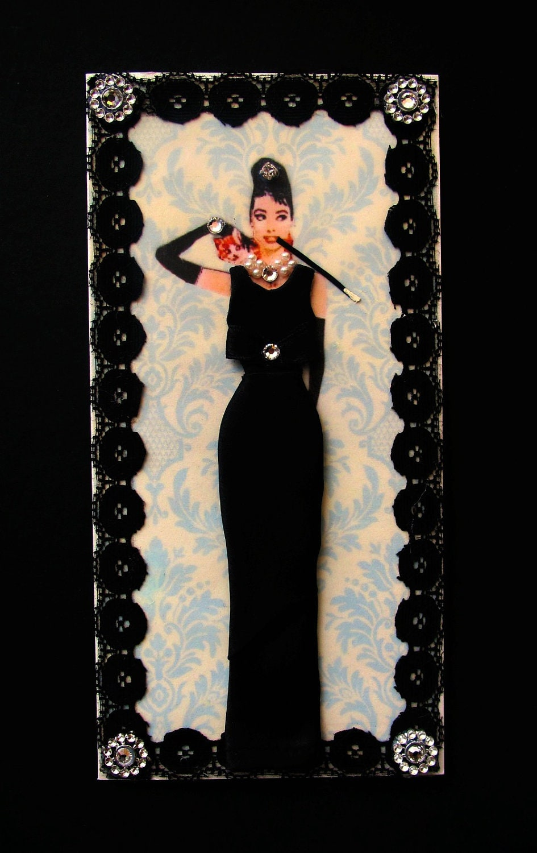 Breakfast at Tiffanys Dress Card / Audrey Hepburn / DL Size / Handmade Greeting Card