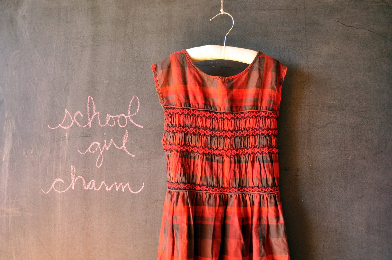 1950's school girl red and black plaid smocked sleeveless little girls dress, size 8 10 12 - LaDiDottie