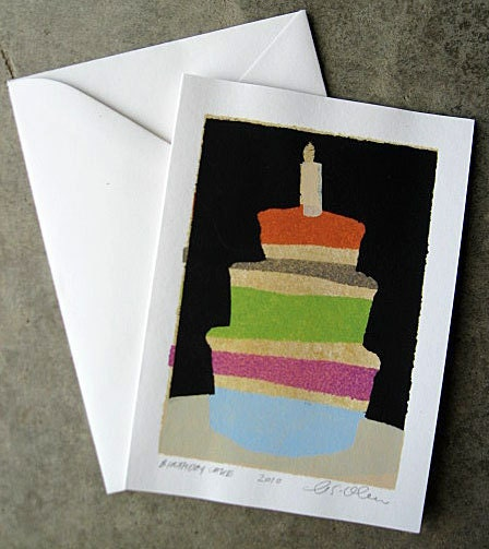 Birthday Cake, Birthday Card, Cake, Candle, Layer Cake, Blank Card