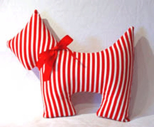 Red Stripe Scottie Dog Pillow So Cute Your Choice of Color and Pattern