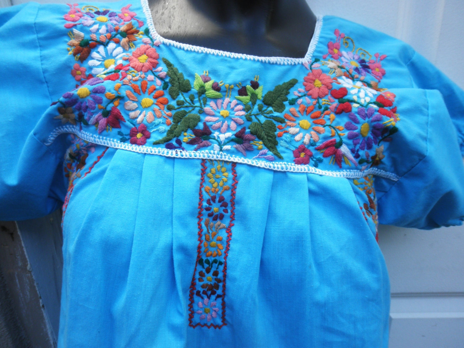 Turquoise blue mexican wedding dress embroidered floral muumuu xs s