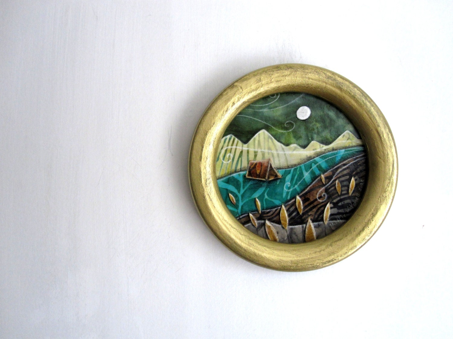 Back Country, backpacking camping tent rustic, circle gold framed, Original Fabric on Wood art - shellieartist