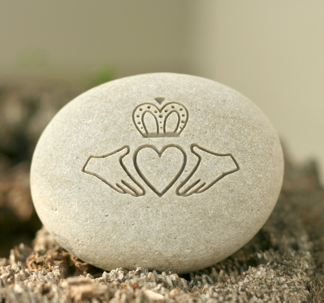 Claddagh Oathing Stone - Double sided engraving for wedding, anniversary or commitment - ($38)