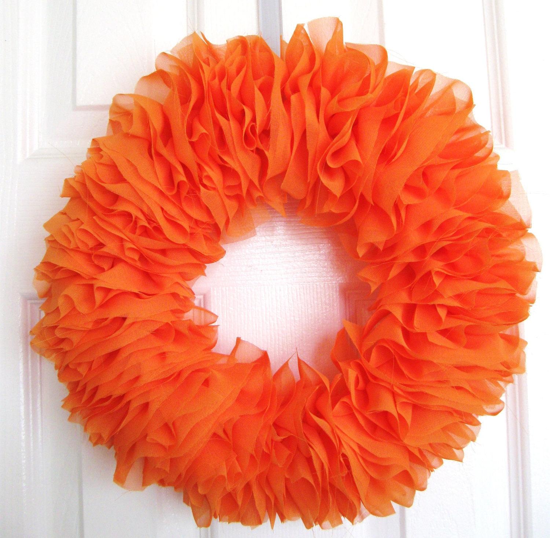 Tangerine Orange Chiffon Ruffle Wreath Shabby Chic - featured on the Gift Insider - as seen on TV