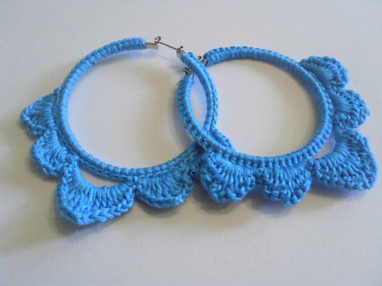 crochet hoop earring, crochet earrings, blue crochet earrings, blue earrings, crocht circle earrings, crochet jewelry - DaniJewls