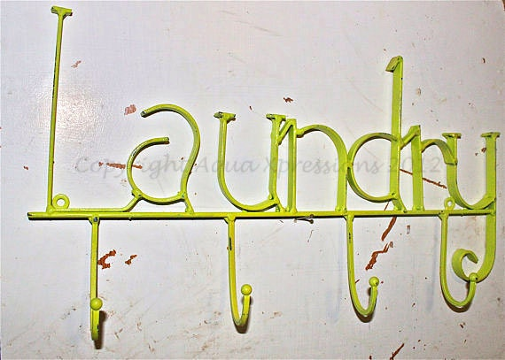 LAUNDRY Wall Hook/ Lime Green/ Laundry Room Bag by AquaXpressions