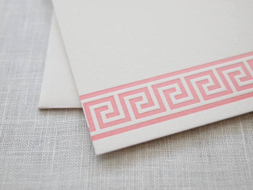 Greek Key Letterpress Stationery - Set of 6 Flat Notes - missive