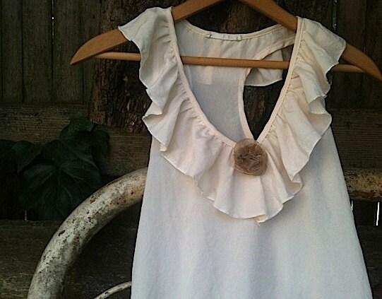 Baby doll, ecru, flowing, rustic, sweet shabby,  rustic, prairie girl, garden blouse vintage, top