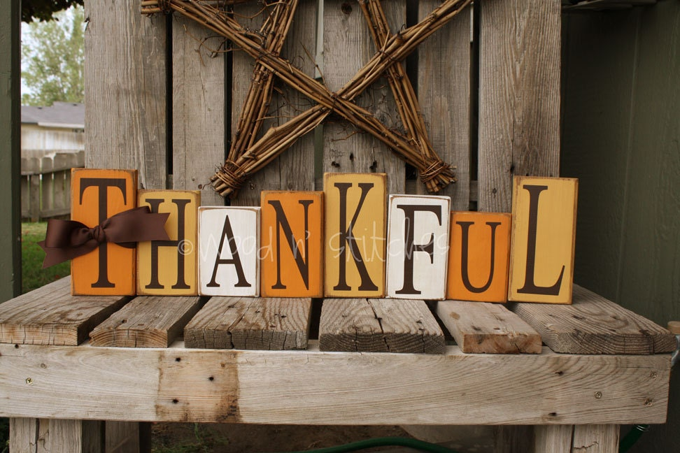 Fall Autumn Thanksgiving THANKFUL Wood Block Set by jodyaleavitt