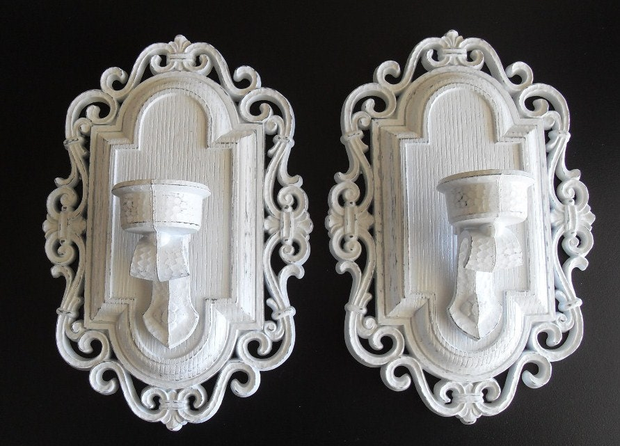 2 White wall candle sconces